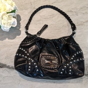 Guess Studded Black Leather Hobo Bag